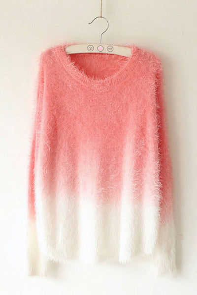 Fuzzy Dip-Dyed Sweater - 2 Love One