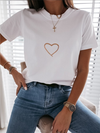 Heart Print Short Sleeve Casual T-shirt - 2 Love One