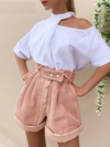 High-Waisted Hollow Out Pink Short
