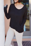 Slouchy Ribbed Knit Sweater Top - 2 Love One