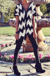 Chevron Print Cardigan w/ Fringe Detail - 2 Love One