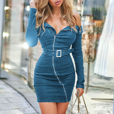 Jasmine Off-Shoulder Denim Dress - 2 Love One