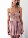 Kayla Deep-V Lace Playsuit in Pink - 2 Love One