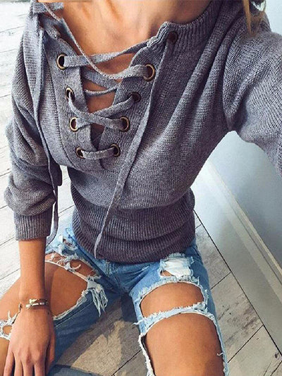 Lace Up Crop Knit Top in Grey - 2 Love One