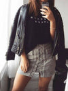 Lace-Up Suede Skirt in Grey - 2 Love One
