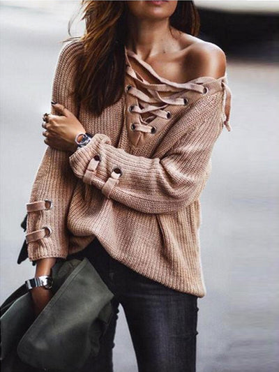 Lace Up Oversize Knit in Apricot - 2 Love One