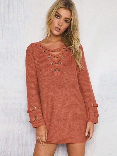 Lace Up Oversize Knit in Sienna - 2 Love One