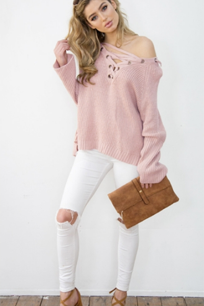 Lace Up Knit Top Soft Pink - 2 Love One