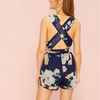 Layla Floral Print Criss Cross Romper - 2 Love One