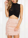 Lele's Lace Up Suede Skirt in Nude Pink - 2 Love One
