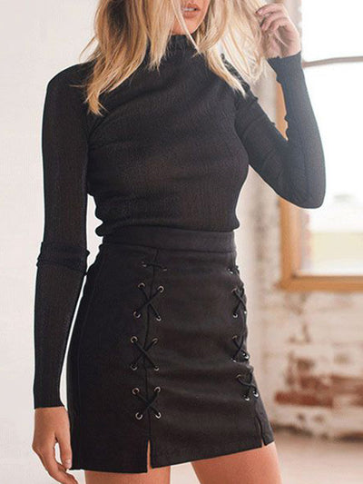 Lele's Lace Up Suede Skirt in Black - 2 Love One