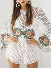 Lena Embroidery Floral Lace Playsuit - 2 Love One