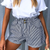 Logan Striped High-Waist Shorts