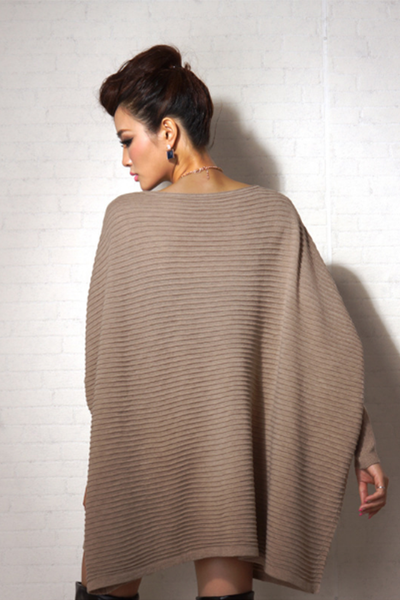 Long-Sleeve Mantle Sweater in Khaki - 2 Love One