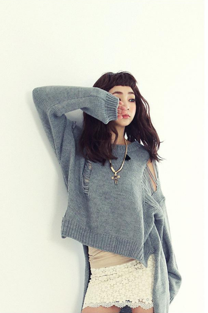 17264f93ddd863 Loose Hollow-Out Knit Sweater - 2 Love One