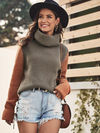 Mellow Contrast Sleeve Turtleneck Knit Sweater - 2 Love One