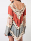 Nadia Colour-block Hollow Crochet Loose Top - 2 Love One