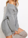 Nala V Neck Drop Shoulder Chunky Knit Sweater - 2 Love One