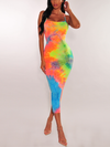 Neon Tie Dye Criss-Cross Back Dress