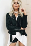 Turn-Down Collar Moto-Jacket Black - 2 Love One