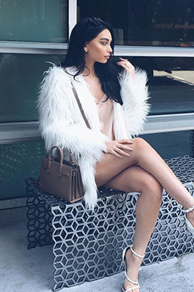 Elegant Long-Sleeve Faux-Fur Coat White - 2 Love One