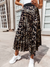 Pleated Leopard Print Long Skirt