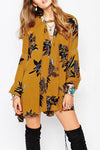 Retro Print Swing Tunic Dress Yellow - 2 Love One