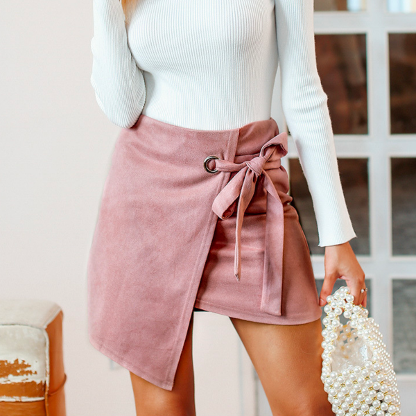 Rocha Sash Suede Mini Skirt