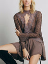 Secret Origins Pieced Lace Tunic in Coffee - 2 Love One