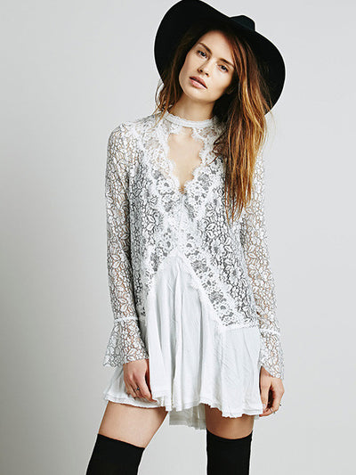 Secret Origins Pieced Lace Tunic in White - 2 Love One