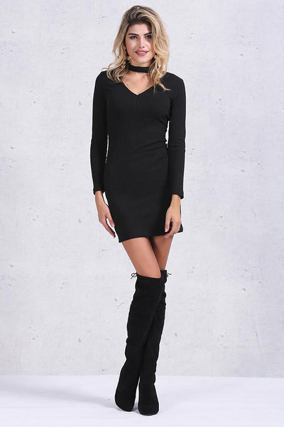 Sexy Long-Sleeve Knit Halter Dress Black - 2 Love One