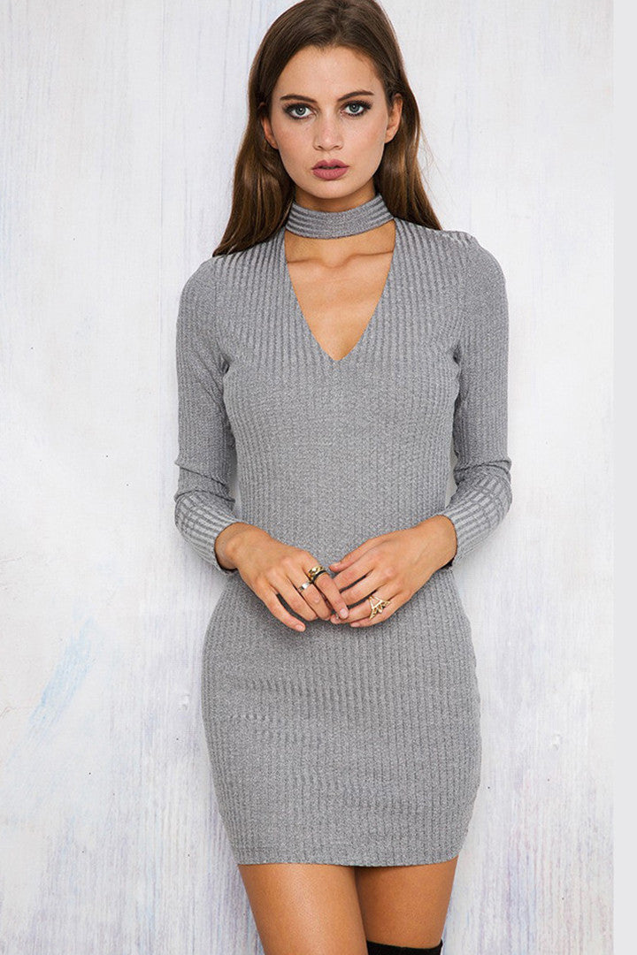 Sexy Long-Sleeve Knit Halter Dress Gray - 2 Love One