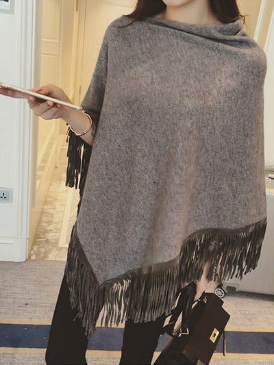 Shannel Fringe Knit Shawl in Grey - 2 Love One