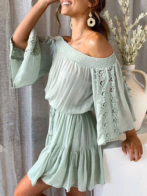Sherry Off Shoulder Lace Trim Dress