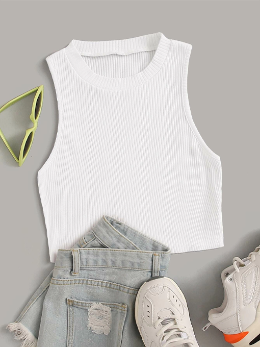 Solid Ribbed Knit Tank Top