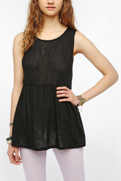 Sweater Knit Babydoll Tank Top - 2 Love One