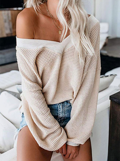V-Cut Off The Shoulder Sweater - 2 Love One