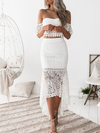 White Lace Off The Shoulder Two Piece Dress - 2 Love One