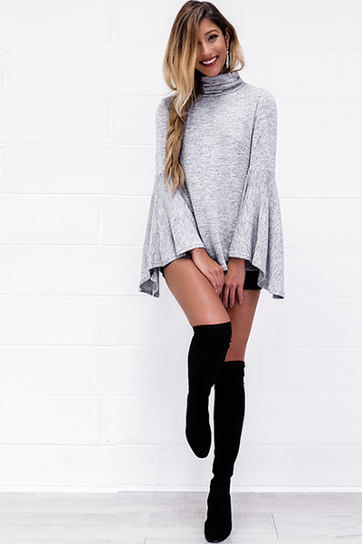 Flared Bell-Sleeve Knit Blouse Gray - 2 Love One