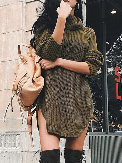 Sandi High Neck Sweater Dress in Olive - 2 Love One