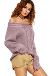 Off The Shoulder Cable Knit Sweater Mauve - 2 Love One