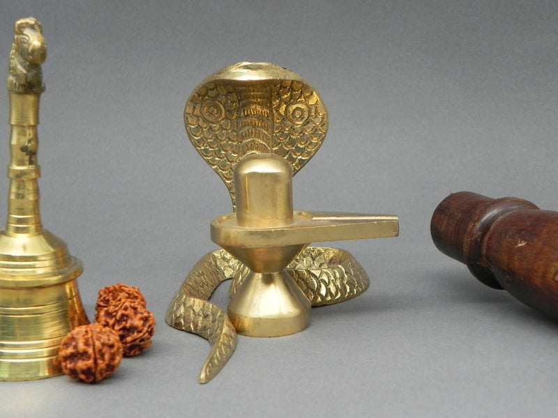 Brass Linga with Snake