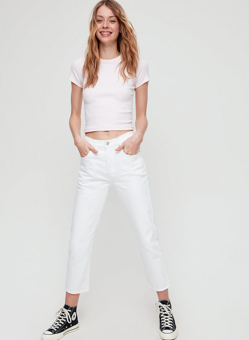 501 Original Cropped, Straight-Leg White Jeans