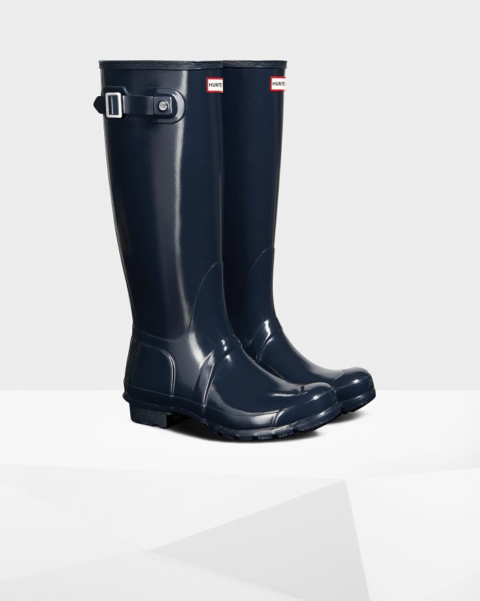Women's Original Tall Gloss Rain Boots: Navy