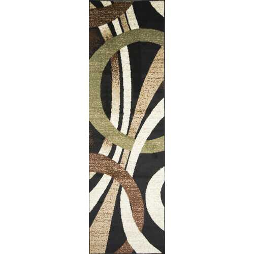 Coleen Abstract Black/Beige Area Rug