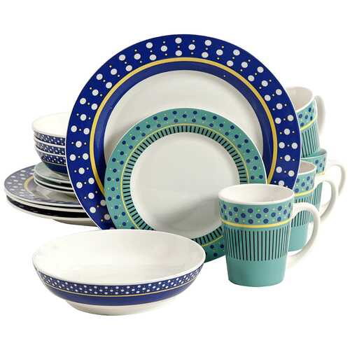 Gibson Home Lockhart 16 Piece Round Stoneware Dinnerware Set