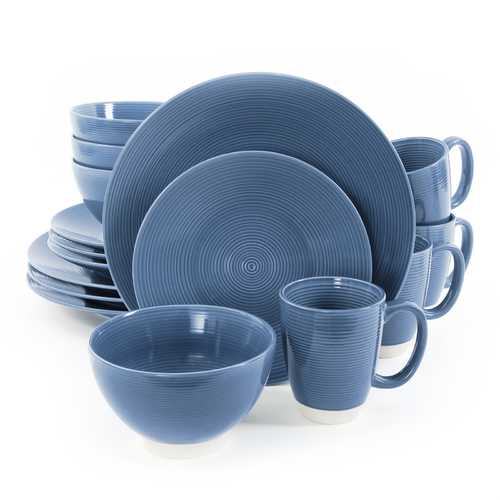 Gibson Rowland 16 Piece Stoneware Round Dinnerware Set in Blue