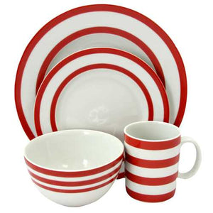 Just Dine Bistro Edge 16- Piece Dinnerware Set in Red