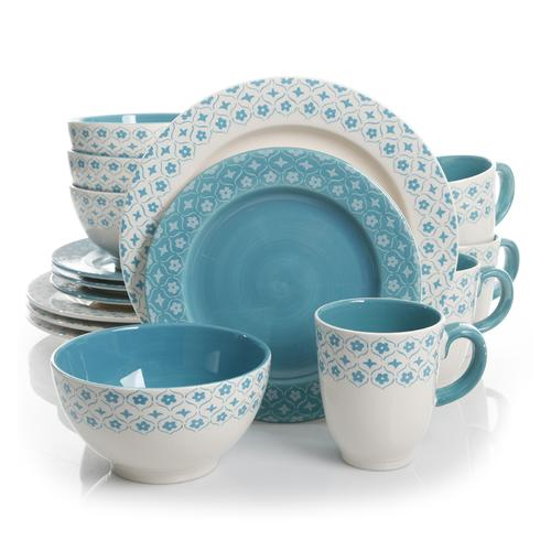 Gibson General Store 16 Piece Cottage Chic Ceramic Dinnerware Set