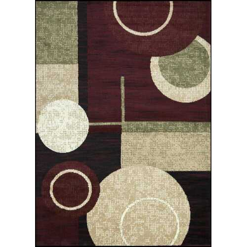Cylindrical Maroon/Green Area Rug